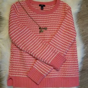 GAP coral/white heavy knit sweater nwot large